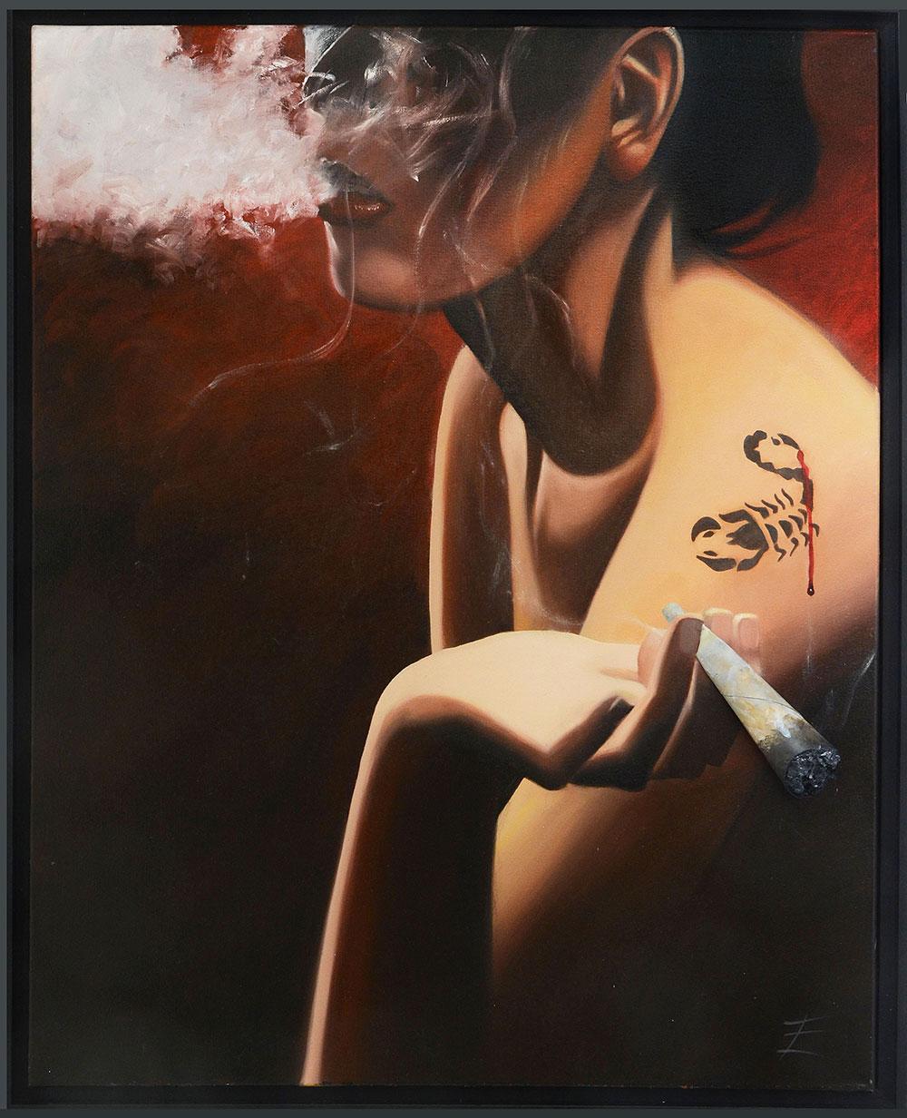 Eric Turlot, Toxique, Huile sur toile et technique mixte, 100 x 81 cm